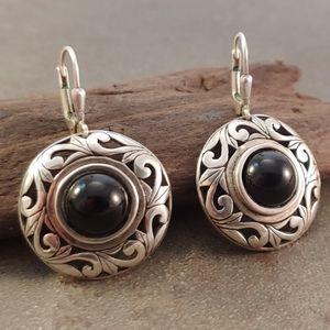 Jewelry - Sterling Silver Vintage Flourish Onyx Earrings
